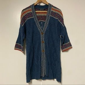 Peruvian connection Blue Open Knit Cotton Cardigan Size Large